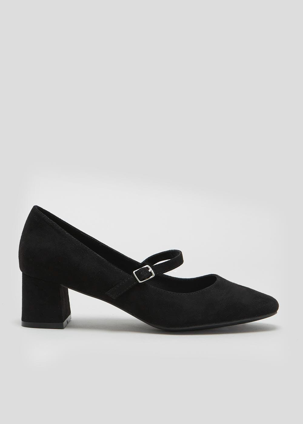 2b2e2001a798 Wide Fit Mary Jane Block Heel Shoes – Black – Matalan
