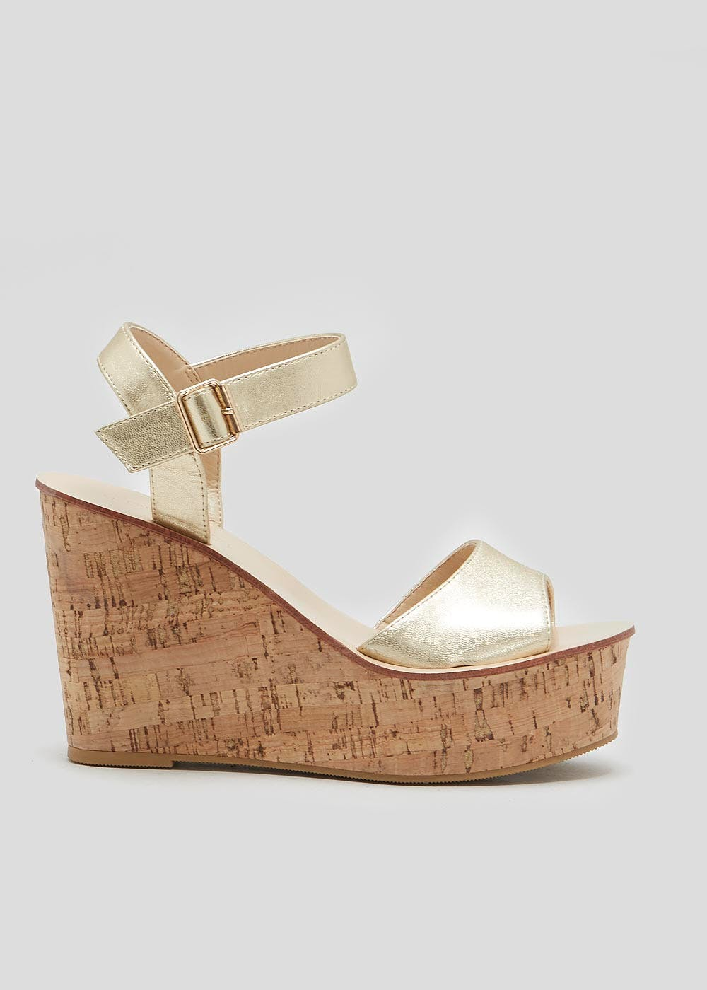 b3733c0e0db Wide Fit Cork Wedges – Gold – Matalan