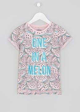 Girls Melon Slogan T-Shirt (4-13yrs)