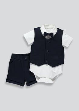 Boys Shirt with Bow Tie Waistcoat & Shorts 4 Piece Set (Newborn-18mths)