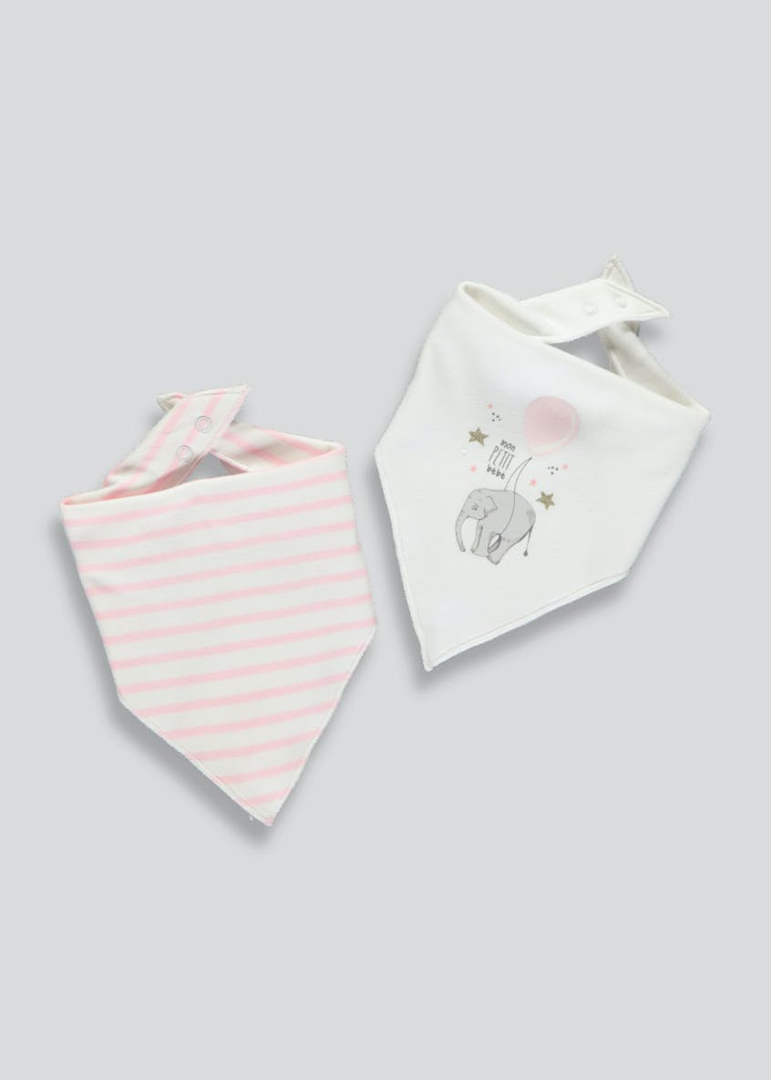 2 Pack Elephant Bandana Bibs (One Size)