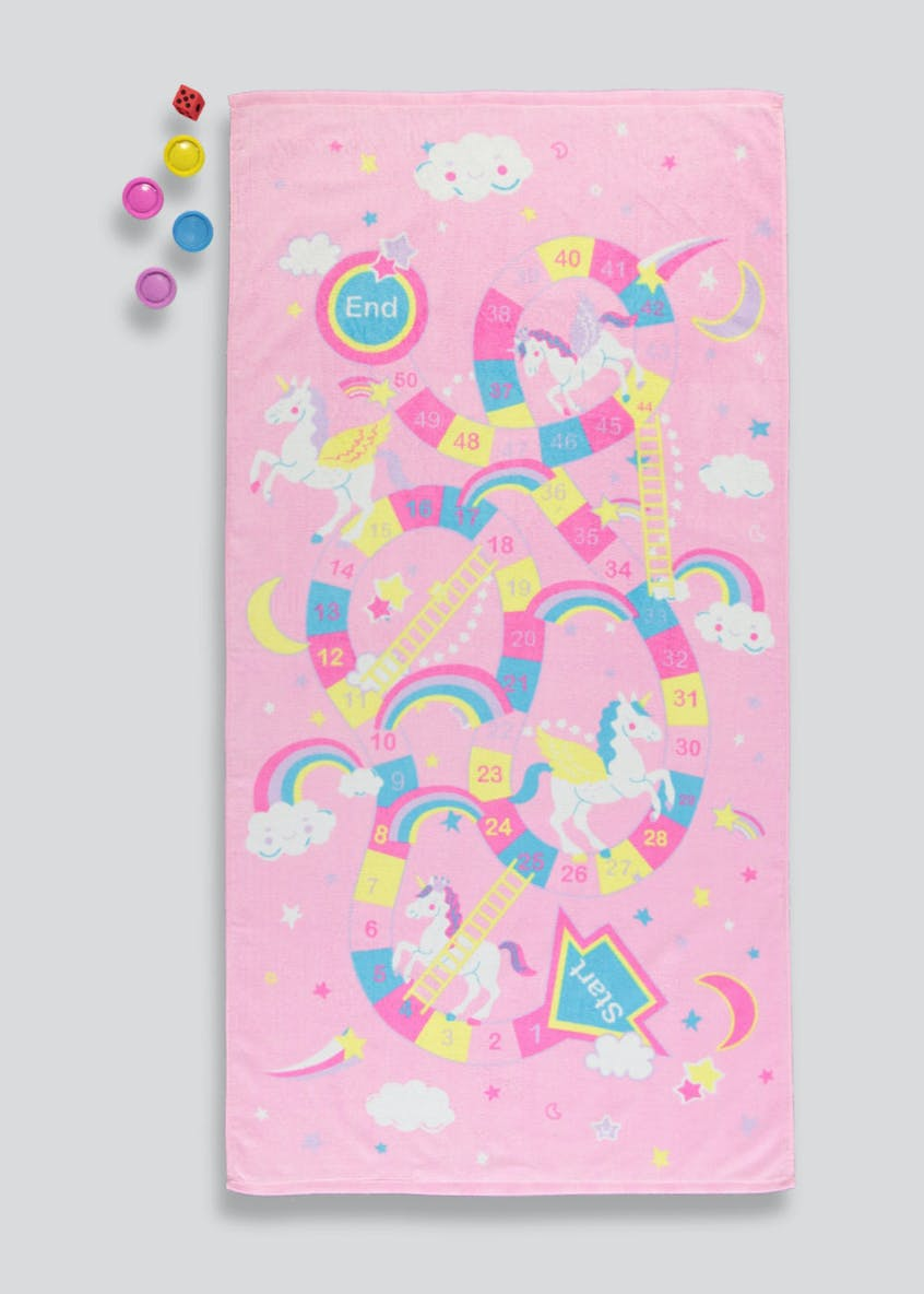 Unicorn Snakes & Ladders Beach Towel Set