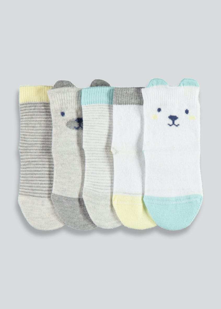 Unisex 5 Pack Bear Ankle Socks (Newborn-8.5)