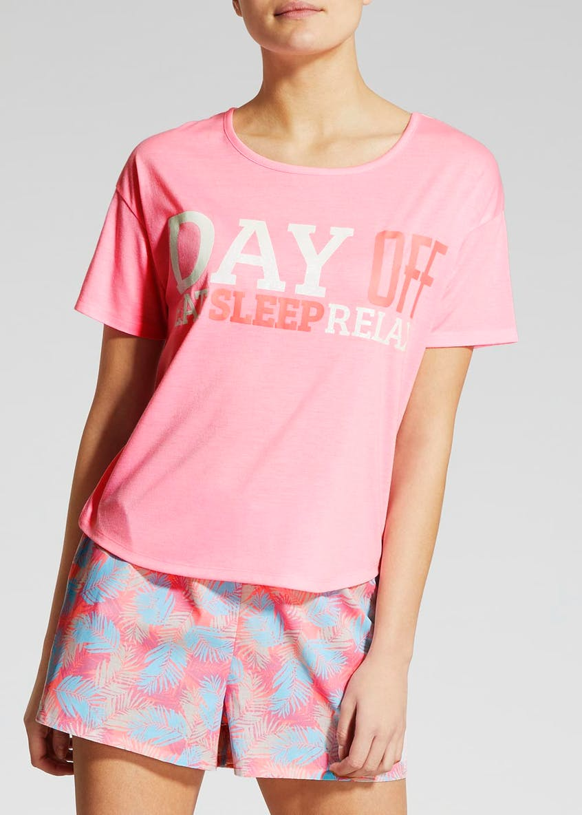 Mix & Match Glitter Slogan Pyjama Top
