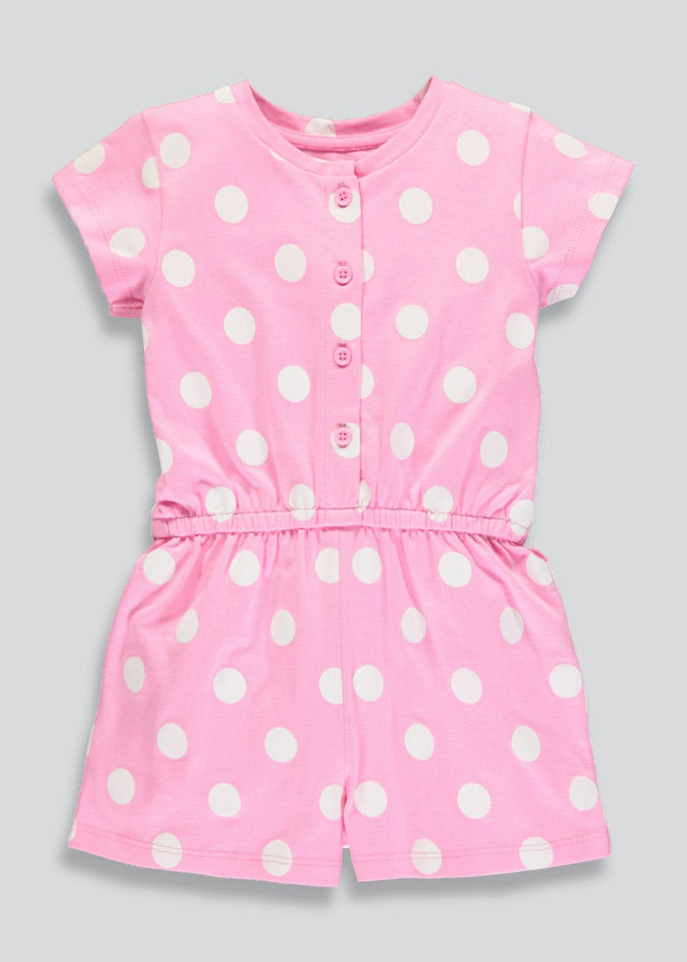 Girls Polka Dot Playsuit (3mths-6yrs) – Pink – Matalan