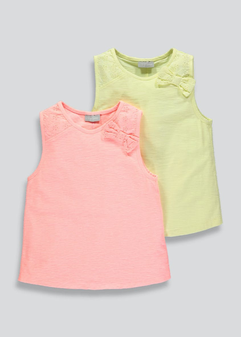 Girls 2 Pack Bow Shoulder Vests (4-13yrs)