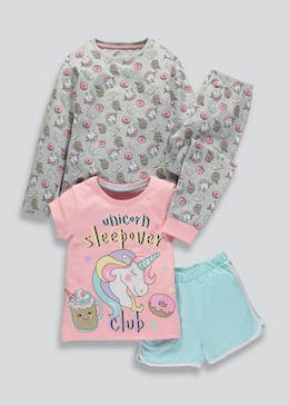 Girls 2 Pack Unicorn Pyjamas (4-13yrs)