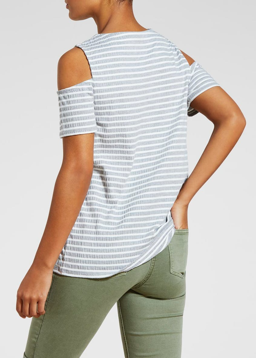 Stripe Lace Up Cold Shoulder T-Shirt