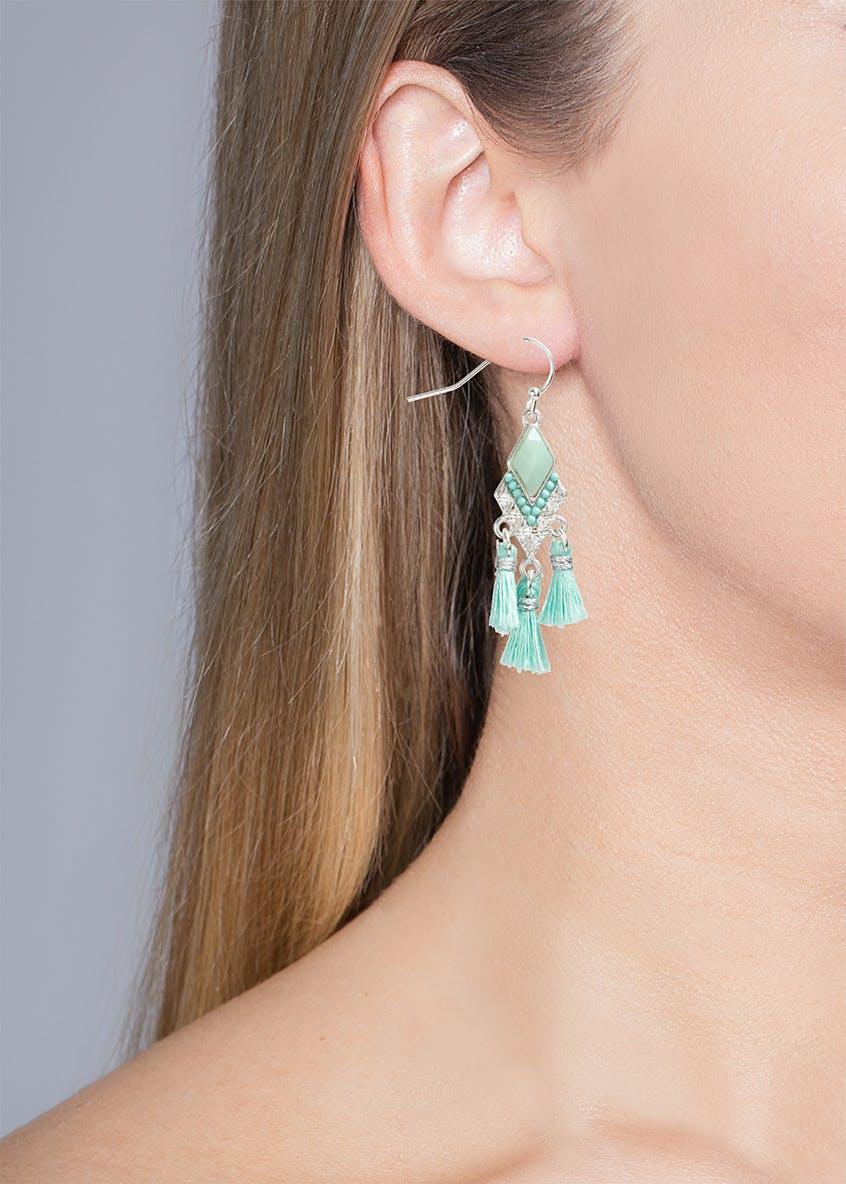 Sparkle Stone Mini Tassel Earring