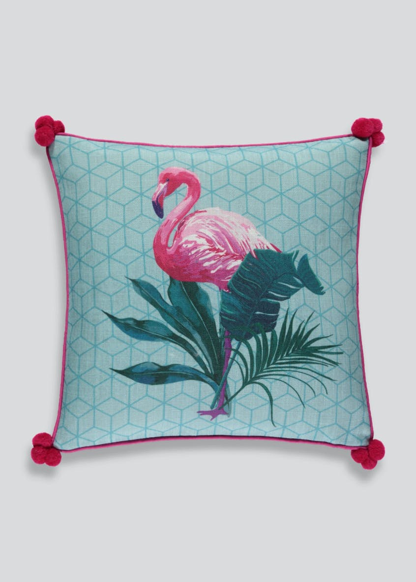 Flamingo Pom Pom Cushion (46cm x 46cm)