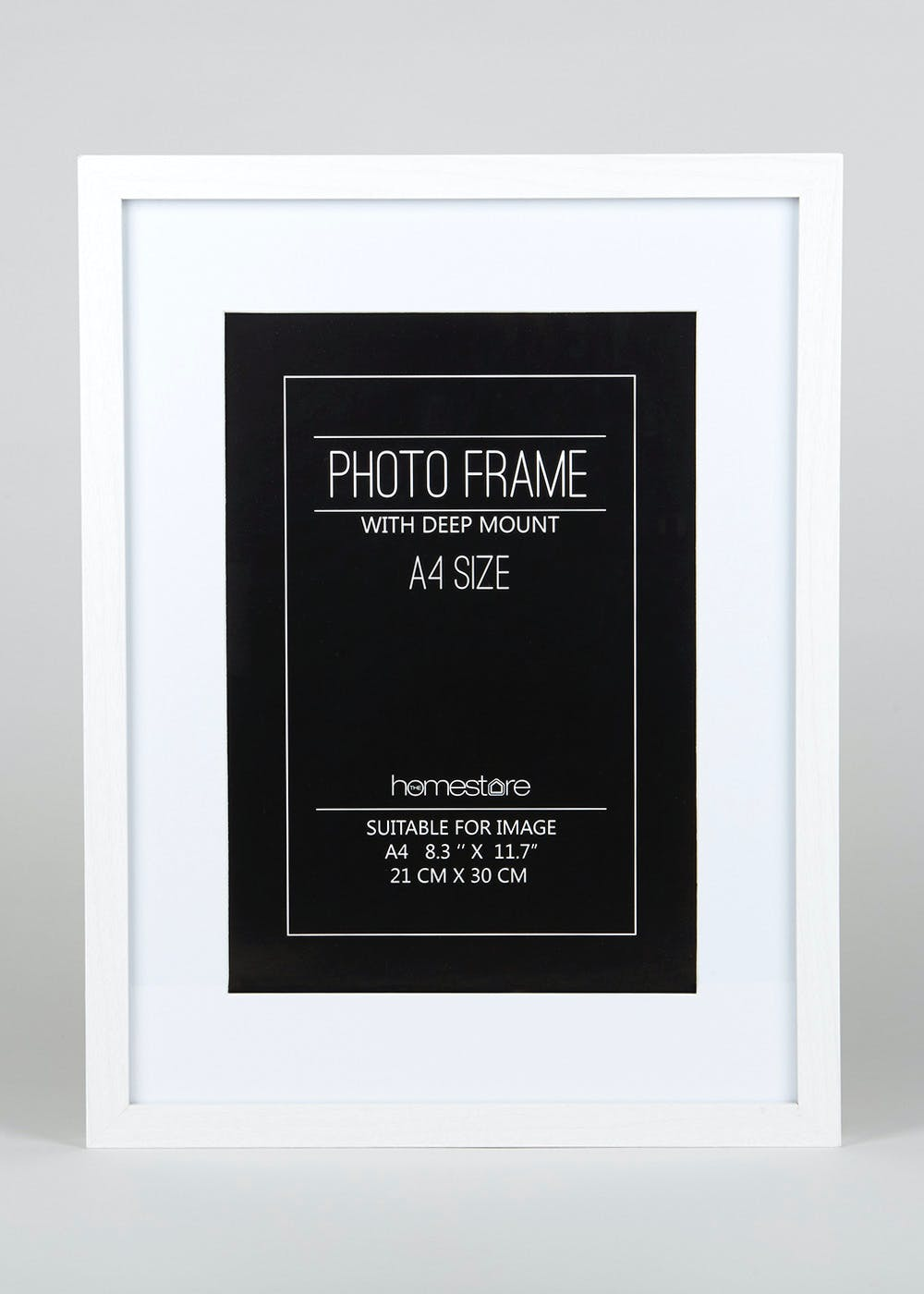 Deep Mount A4 Block Photo Frame (42cm x 32cm) – White – Matalan