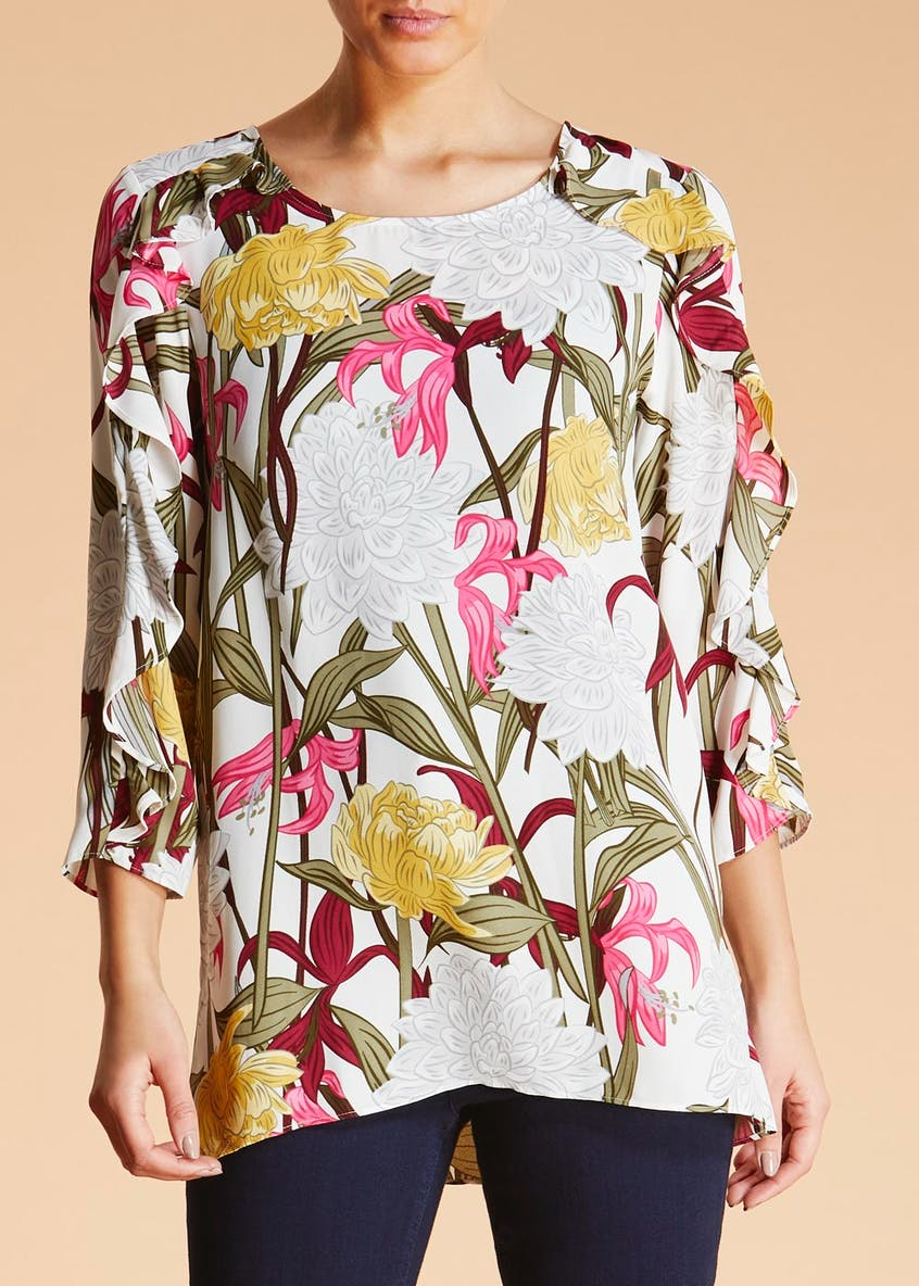 Soon Sorrento Floral Ruffle Sleeve Top