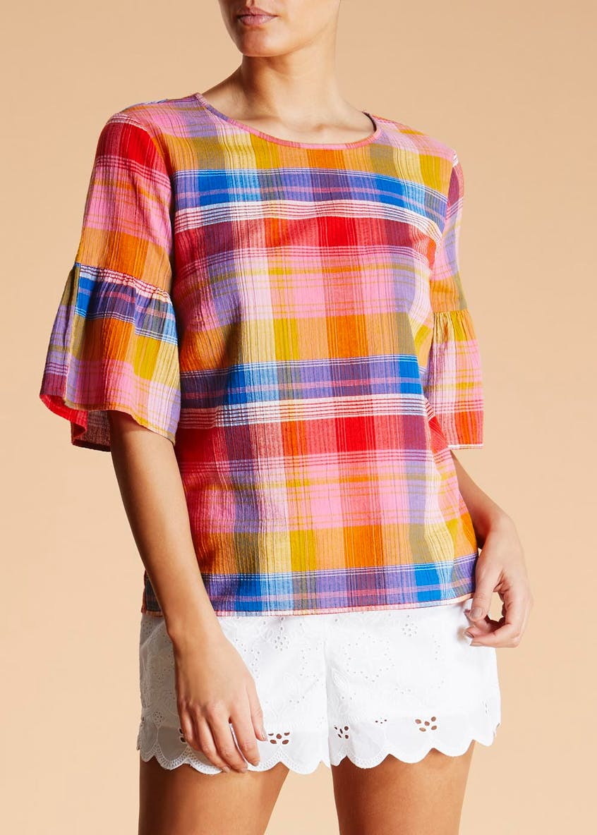 Falmer Check Bell Sleeve Blouse
