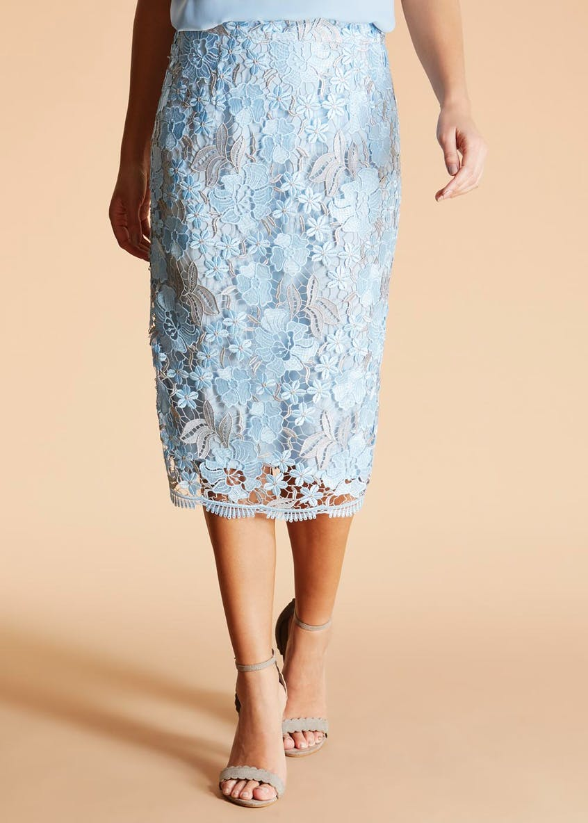 FWM Two-Tone Lace Pencil Skirt