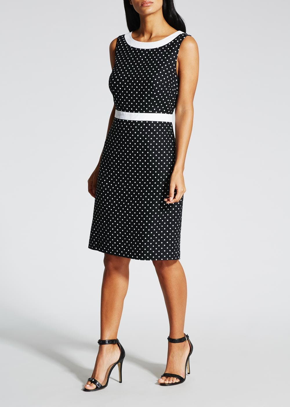Polka Dot Linen Shift Dress – Black – Matalan