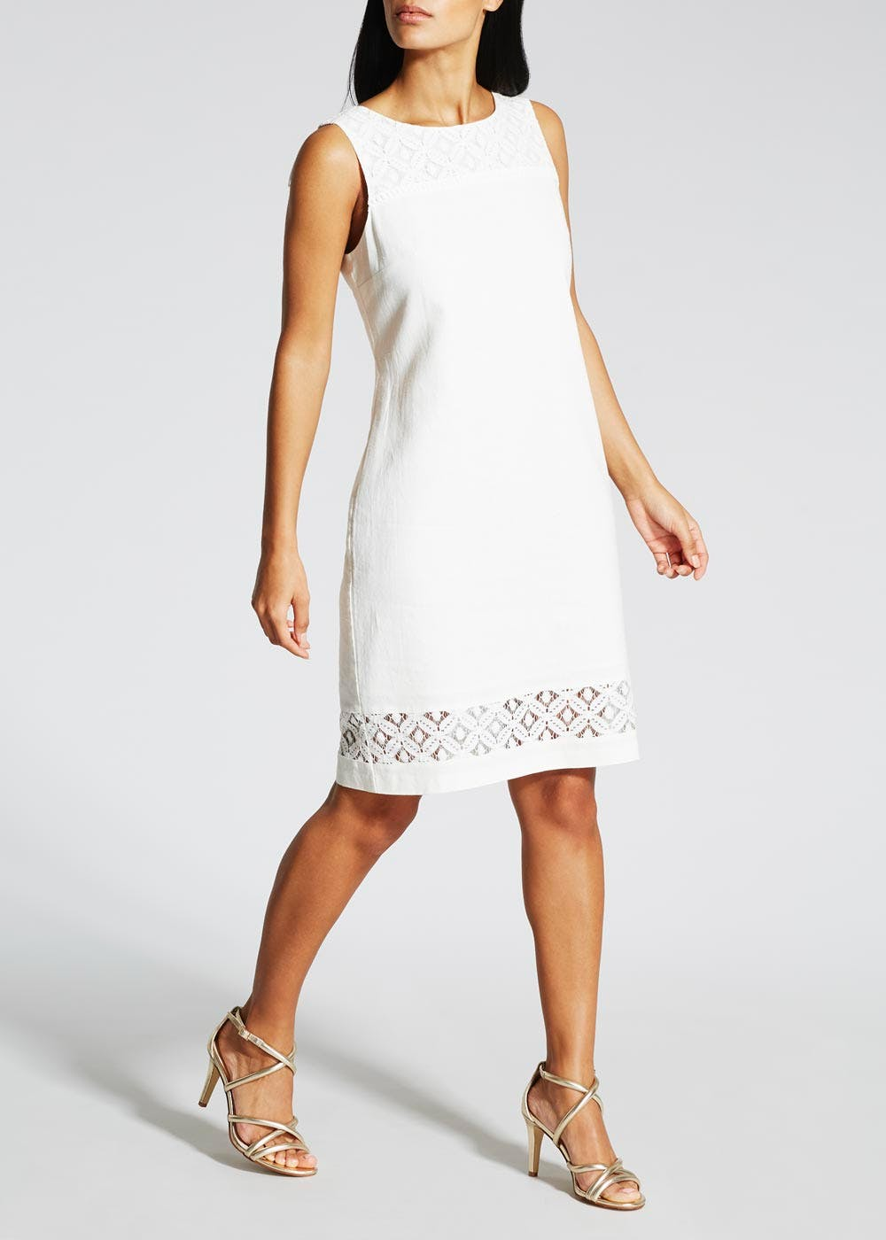 Lace Hem Linen Shift Dress – White – Matalan