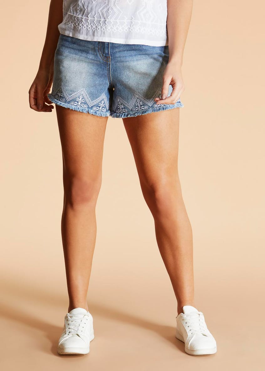 Falmer Embroidered Denim Shorts