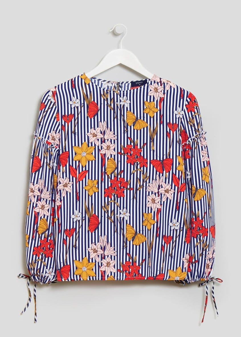 Floral Butterfly Stripe Blouse