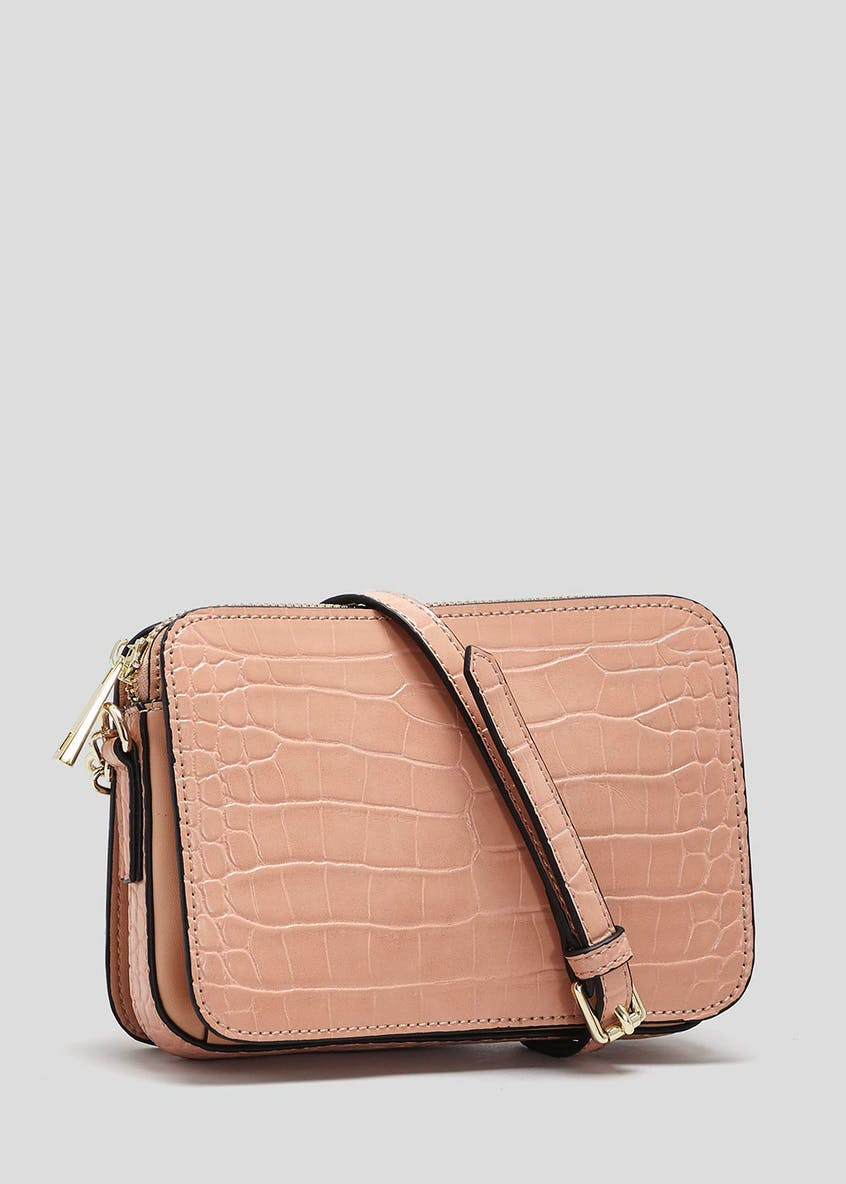 Mock Croc Cross-Body Bag