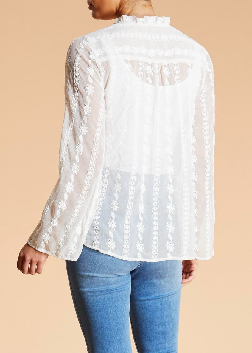 Falmer Embroidered Tie Neck Blouse