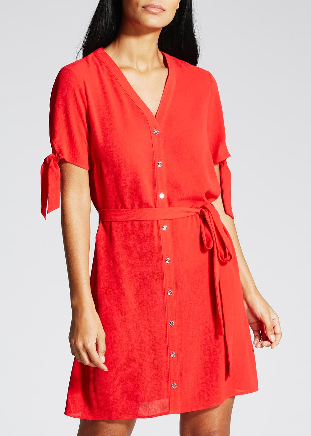 Tie Sleeve Shirt Dress – Red – Matalan