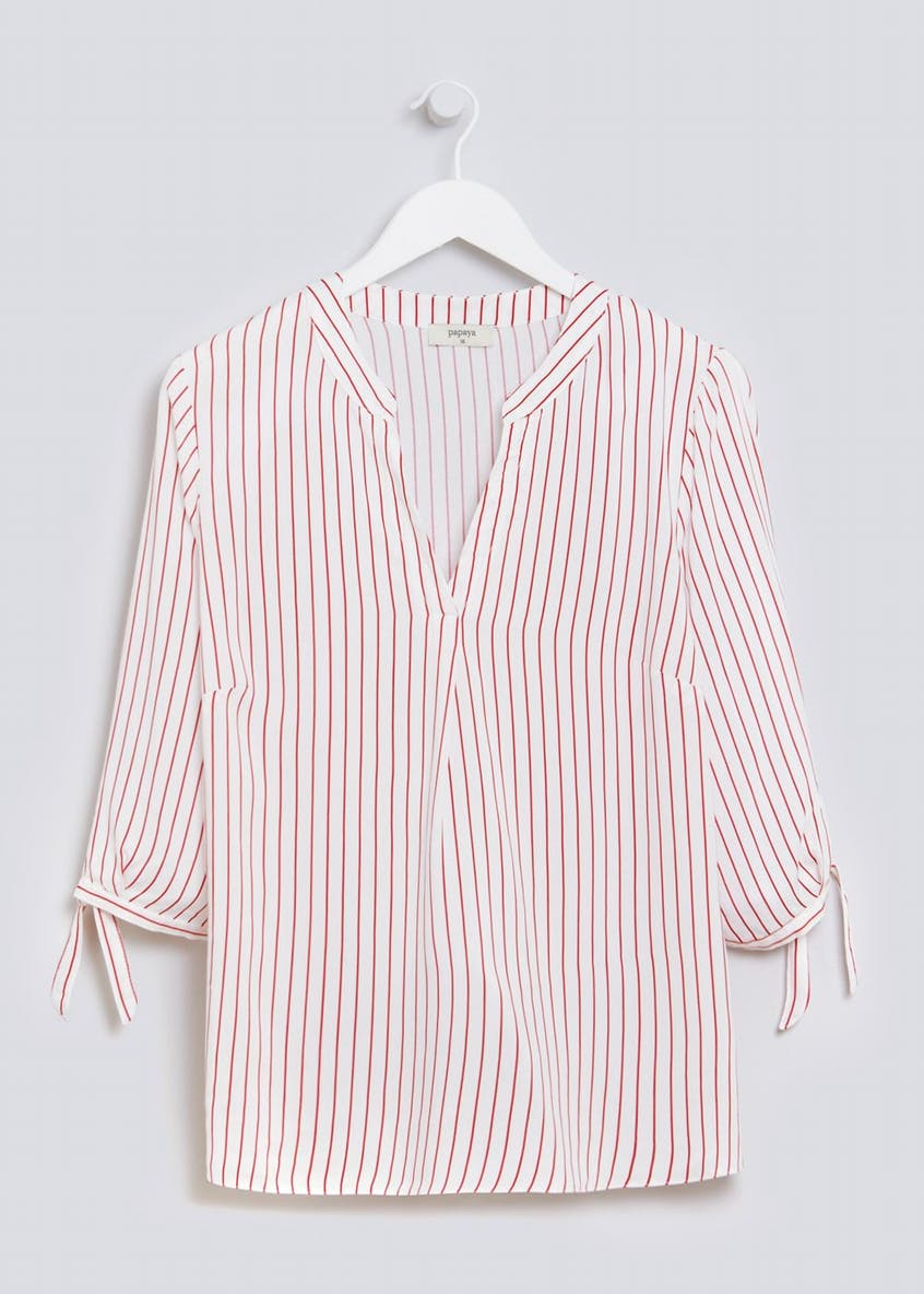 Stripe Grandad Collar Blouse