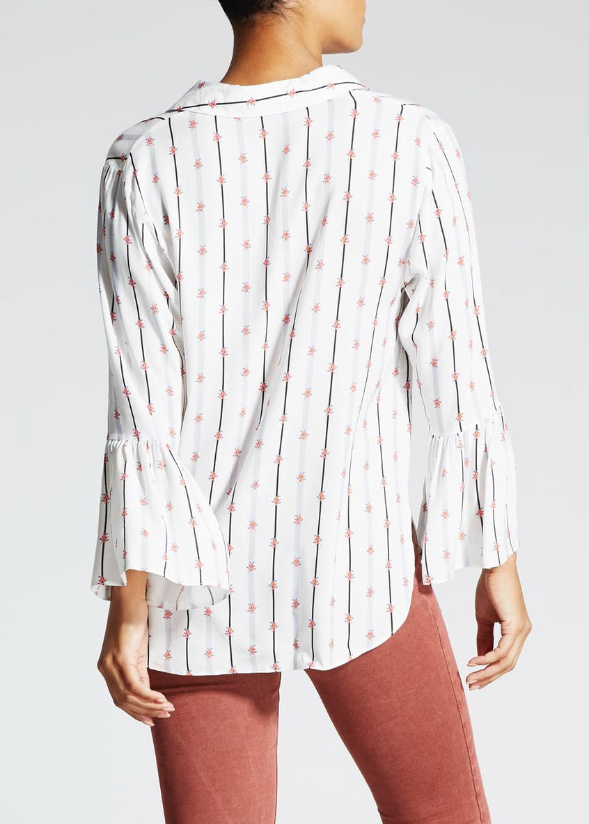 Floral Stripe Bell Sleeve Shirt