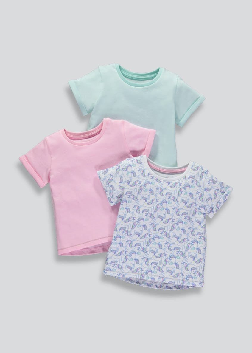 Girls 3 Pack Unicorn T-Shirts (3mths-6yrs)