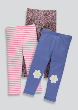 Girls 3 Pack Jersey Leggings (3mths-6yrs)