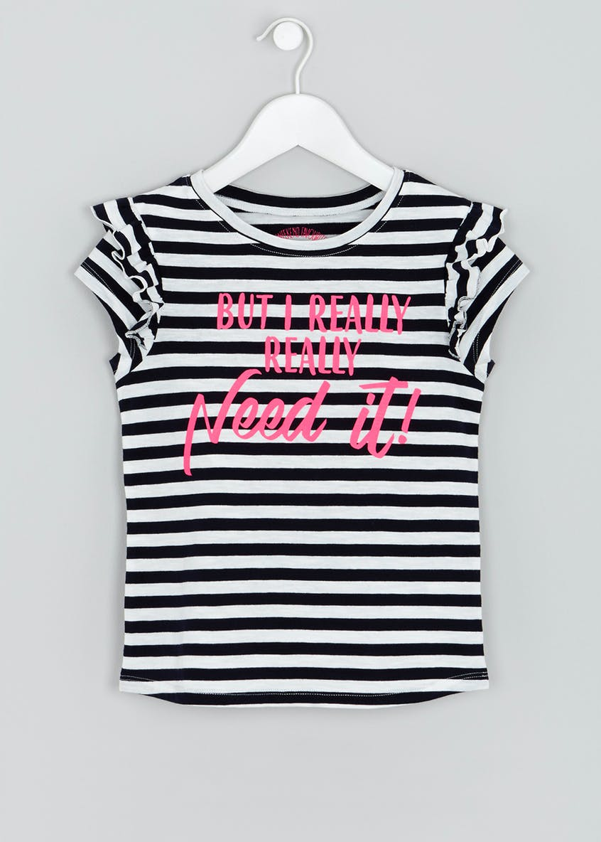 Girls Slogan Stripe T-Shirt (4-13yrs)
