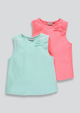 Girls 2 Pack Bow Vests (4-13yrs)