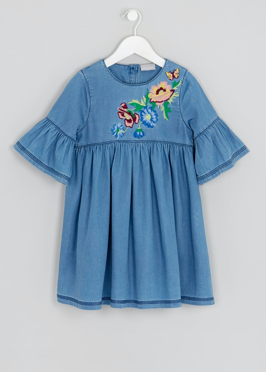 Girls Embroidered Bell Sleeve Denim Dress (4-13yrs)