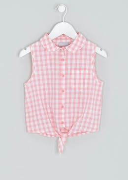 Girls Gingham Tie Front Blouse (4-13yrs)