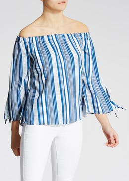 Stripe Tie Sleeve Bardot Top