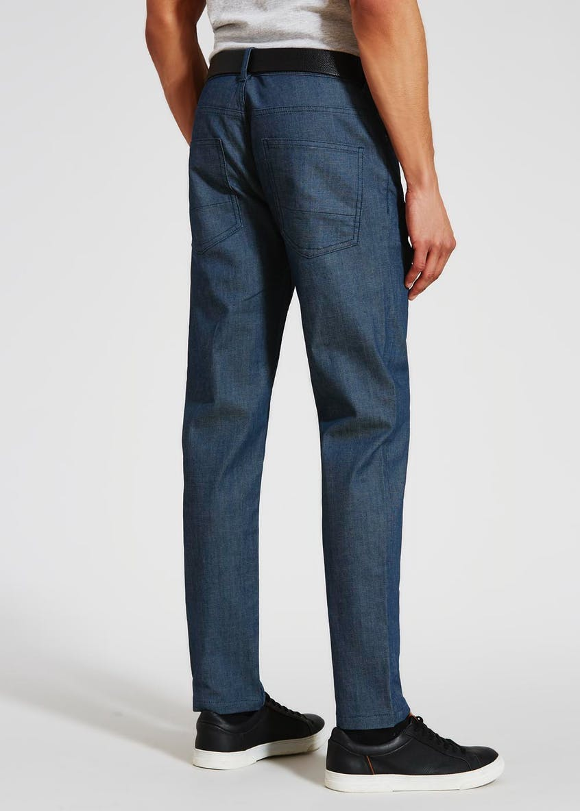 Belted Stretch Slim Jeans