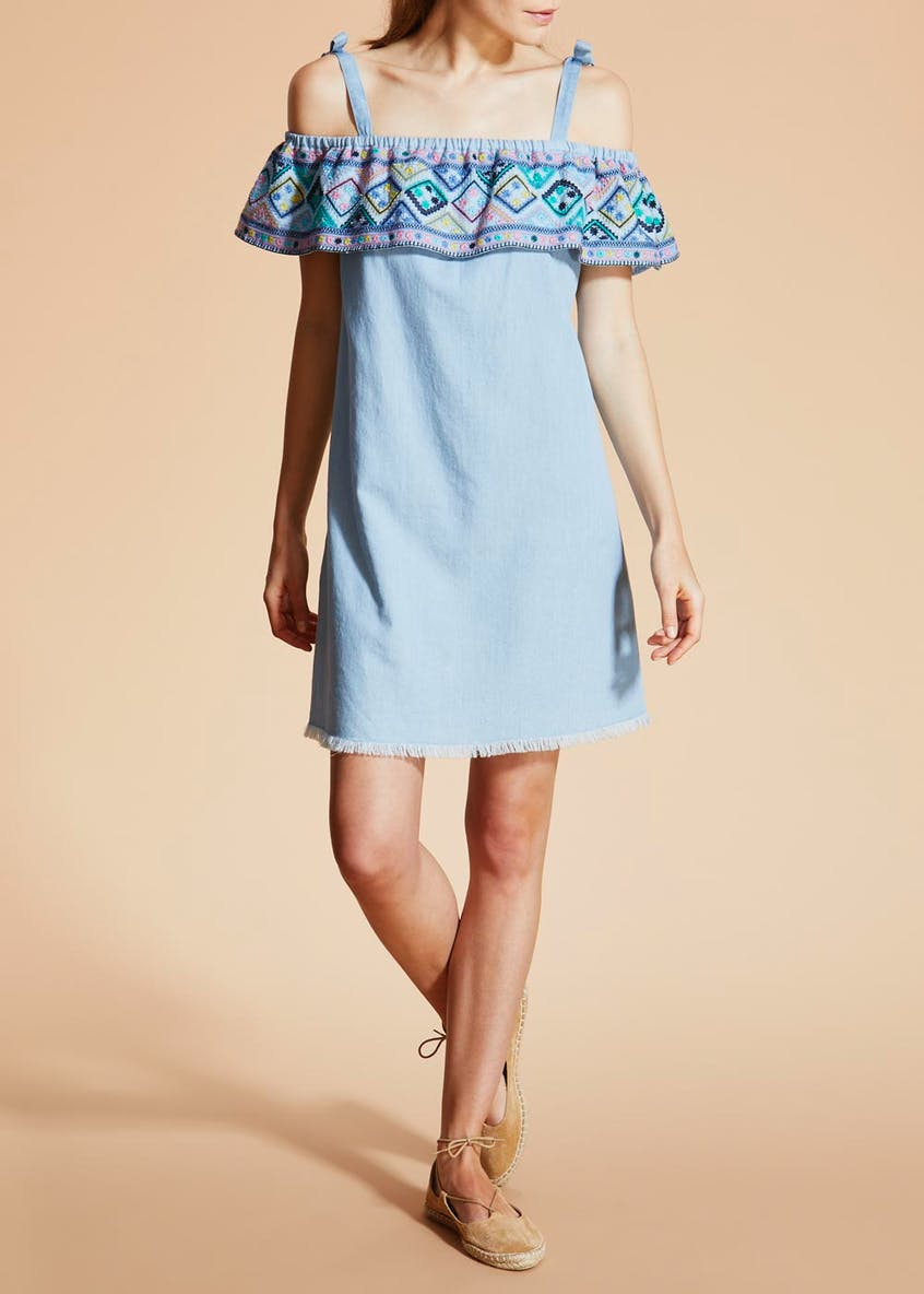 Falmer Embroidered Bardot Denim Dress