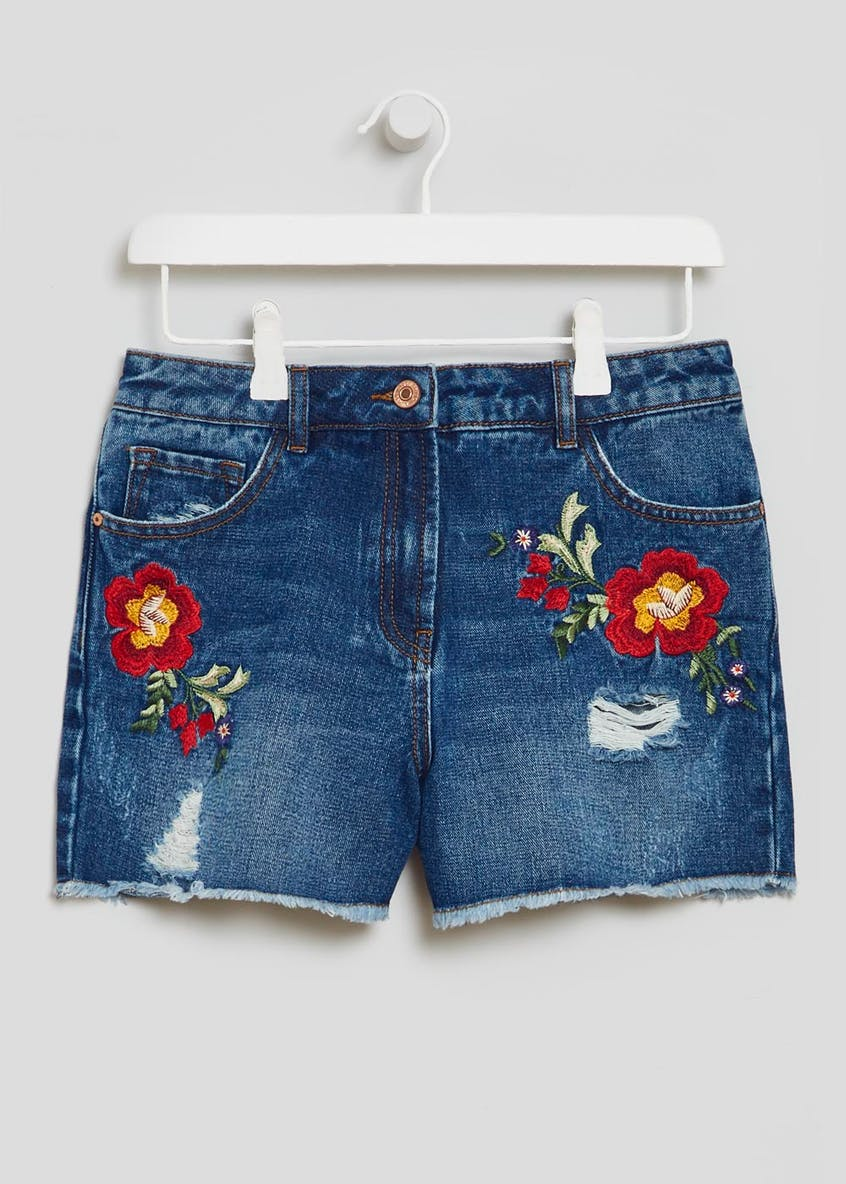 Floral Embroidered Distressed Denim Shorts