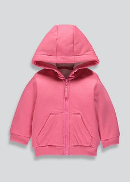 Girls Borg Lined Zip Through Hoodie (3mths-6yrs)