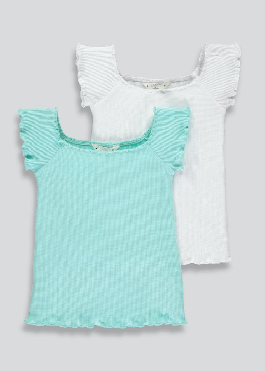 Girls Candy Couture 2 Pack Bardot Tops (9-16yrs)