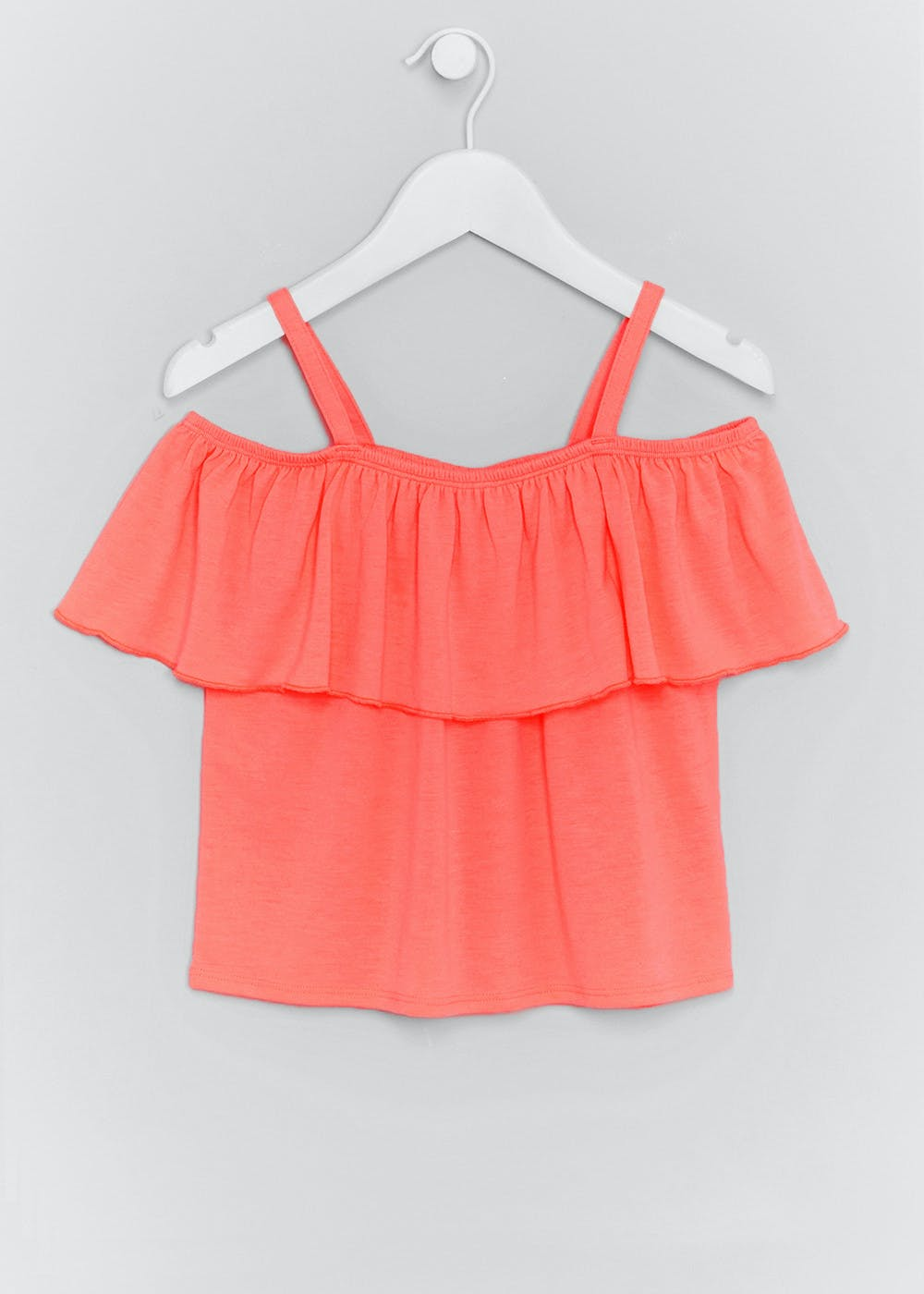 3a1615361de Girls Frill Bardot Top (4-13yrs) – Pink – Matalan