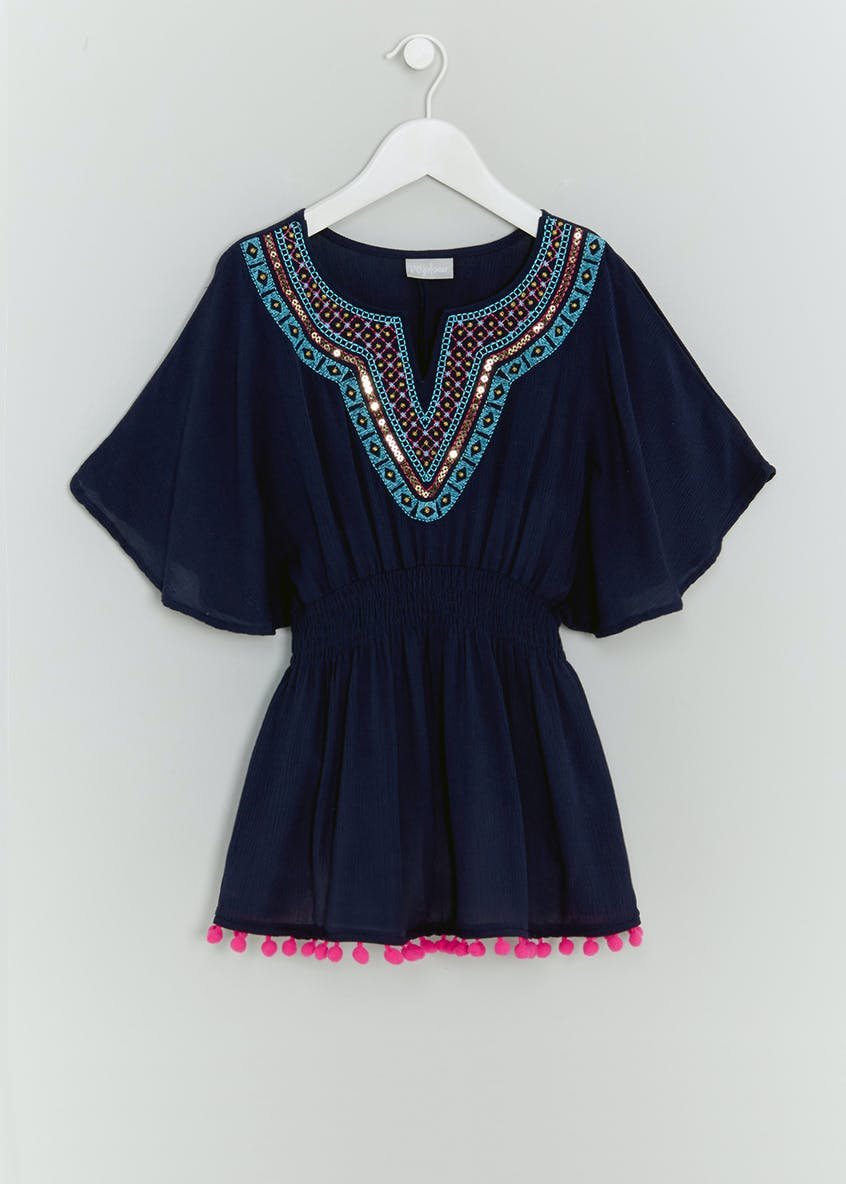 Girls Pom Pom Tassel Sequin Trim Kaftan (4-13yrs)