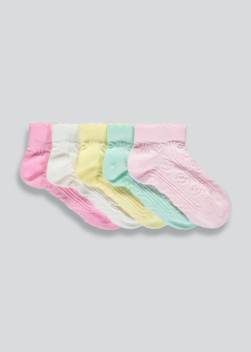 Girls 5 Pack Trainer Socks (Newborn-8.5)