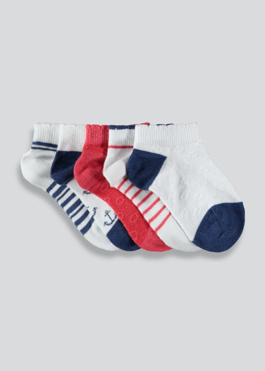 Unisex 5 Pack Nautical Trainer Socks (Newborn-8.5)