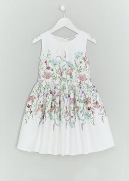Girls Floral Border Dress (4-13yrs)