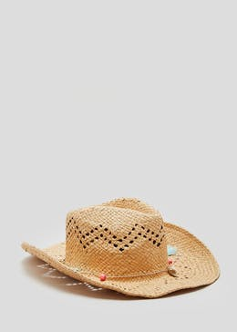 Shell Bead Trim Straw Hat