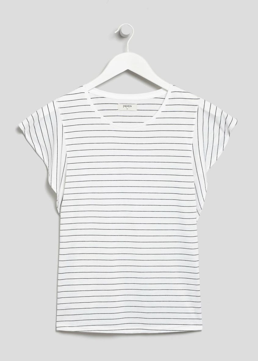 Stripe Frill Sleeve T-Shirt