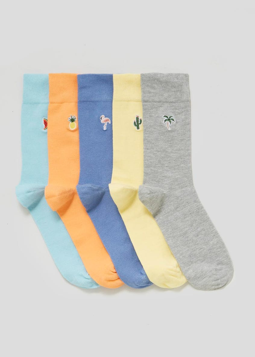 5 Pack Cotton Rich Embroidered Motif Socks