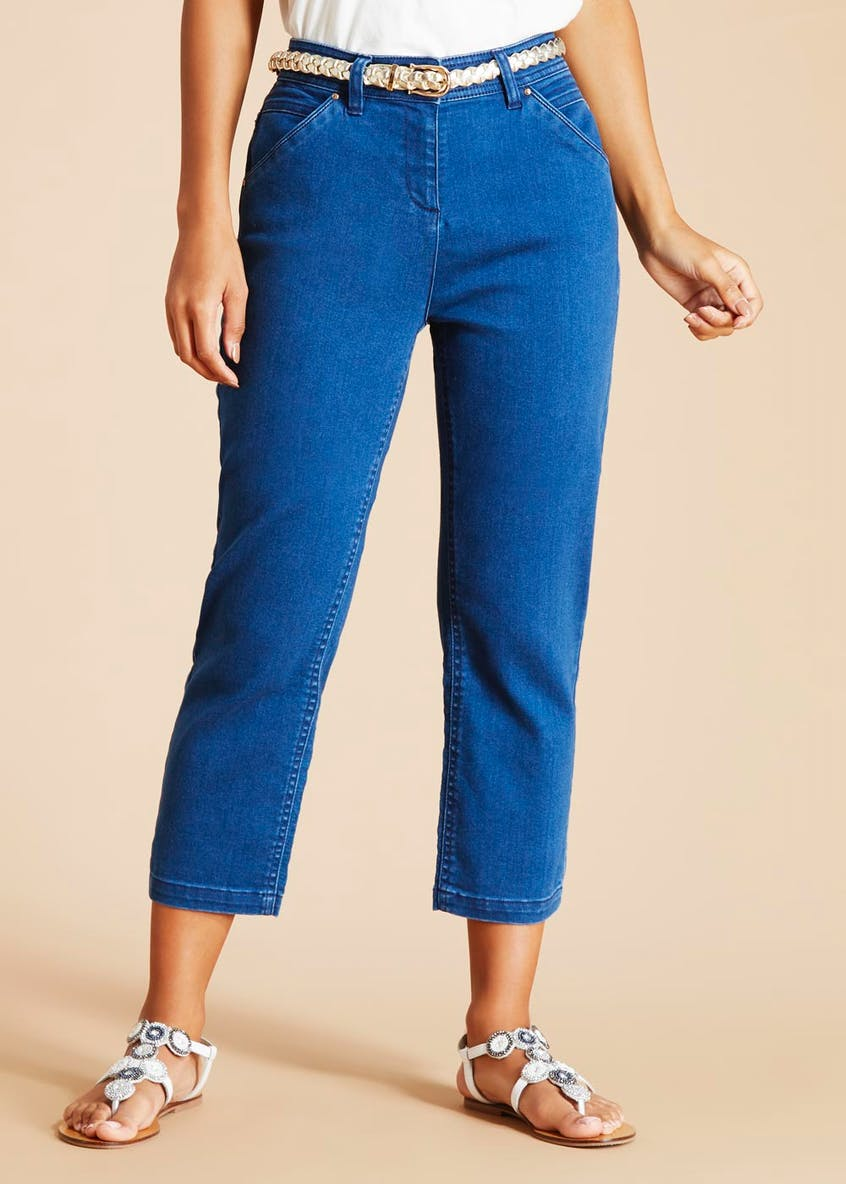 Soon Belted Relaxed Skinny Cropped Jeans