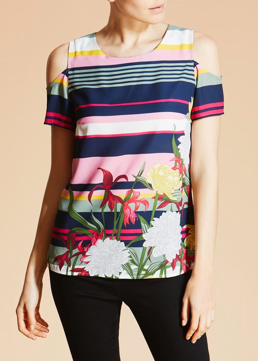 Soon Sorrento Floral Stripe Cold Shoulder Blouse