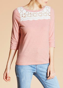 Falmer Stripe Lace Yoke T-Shirt
